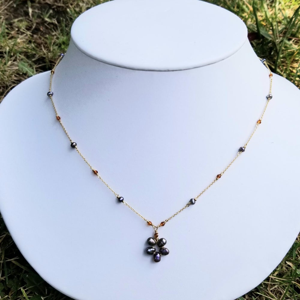 Image of 14k Gold-fill Peacock Pearl and Citrine Flower Necklace