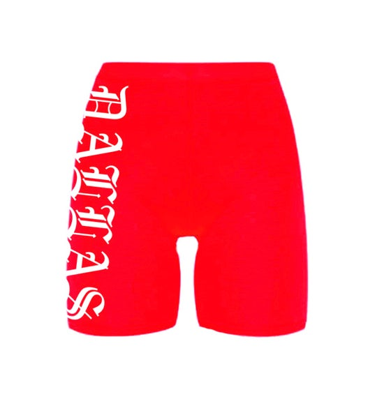 Image of DALLAS RED BIKE SHORTS