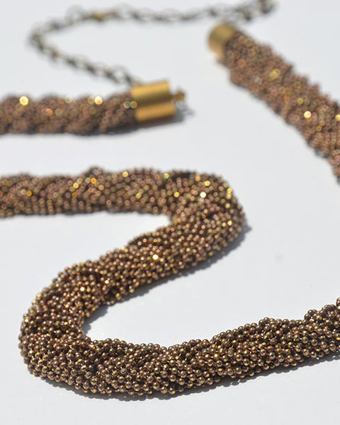 Image of Braided chain necklace - caramel brass