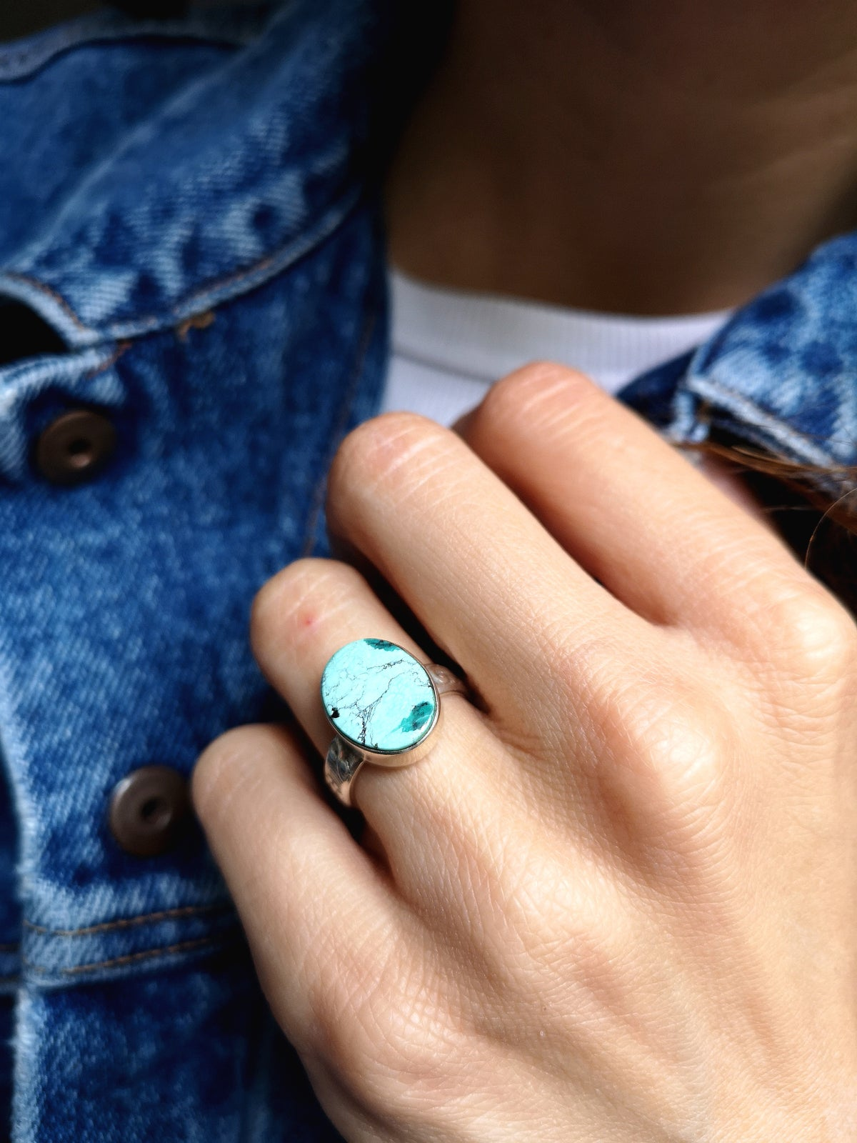 Image of Bague turquoise du Tibet - taille 51,5 - ref. 5623