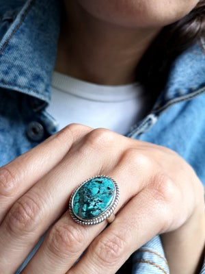 Image of Bague turquoise du Tibet - taille 51 - ref. 5728