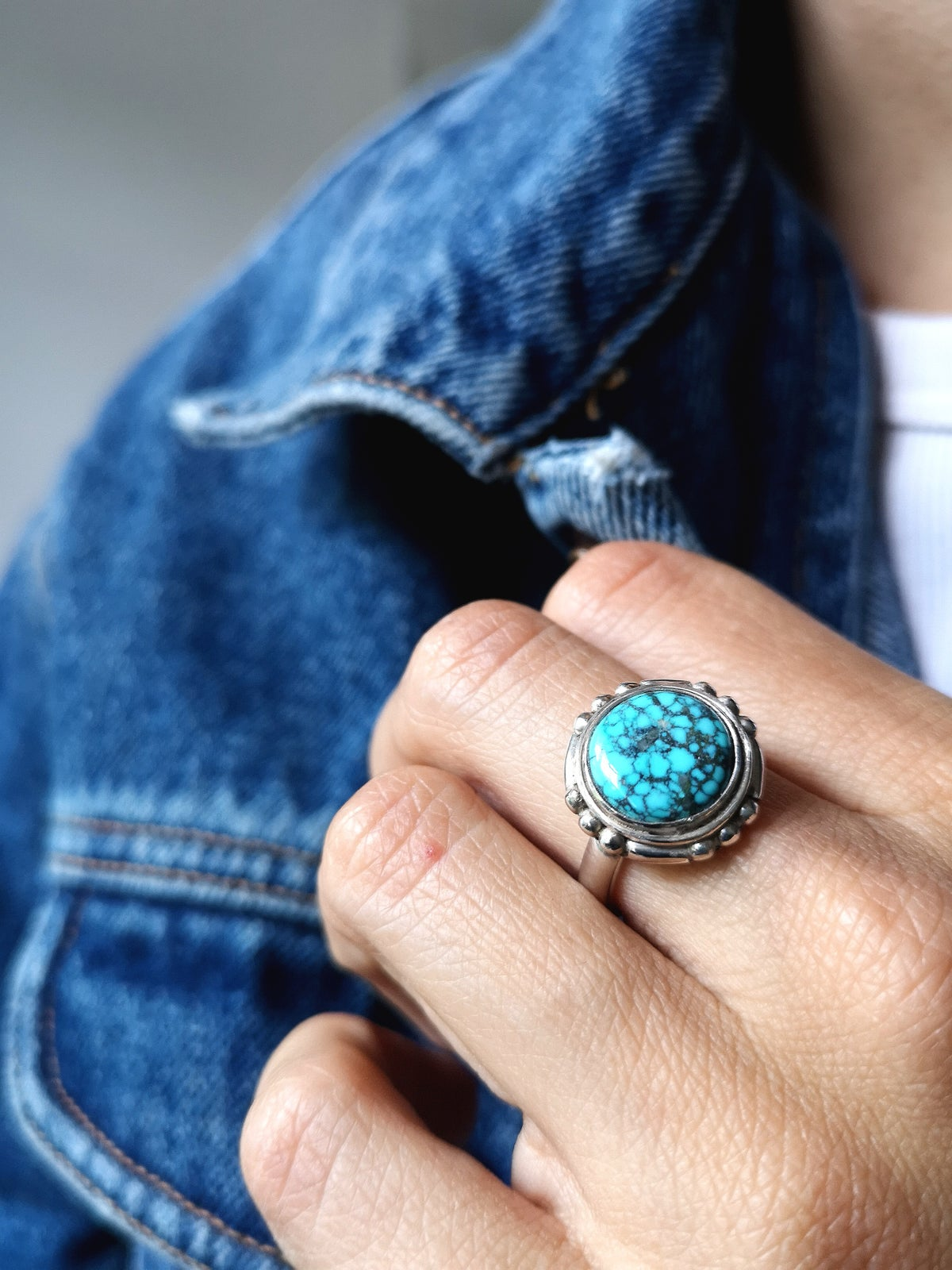 Image of Bague turquoise du Tibet - taille 52,5 - ref. 4688
