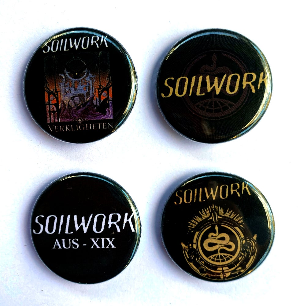 Image of SOILWORK - Aussie Tour Badges/Buttons - Set of 4 designs