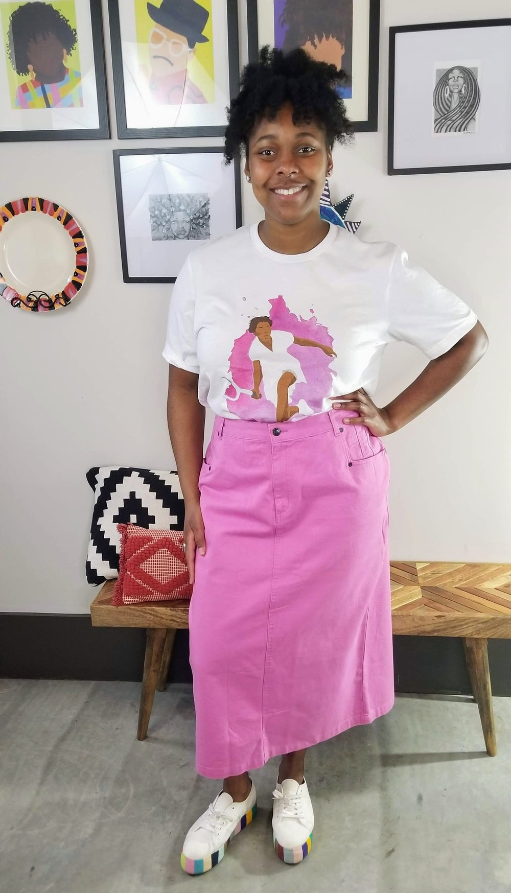 Image of Denim Pink Pencil Maxi Skirt Women's Plus Size 14/16