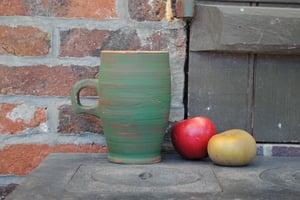 Image of Green handled end-grain cup II