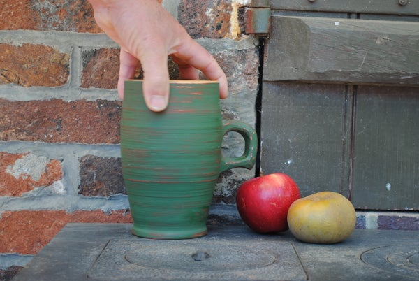 Image of Green handled end-grain cup II