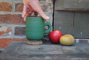 Image of Green handled end-grain cup I