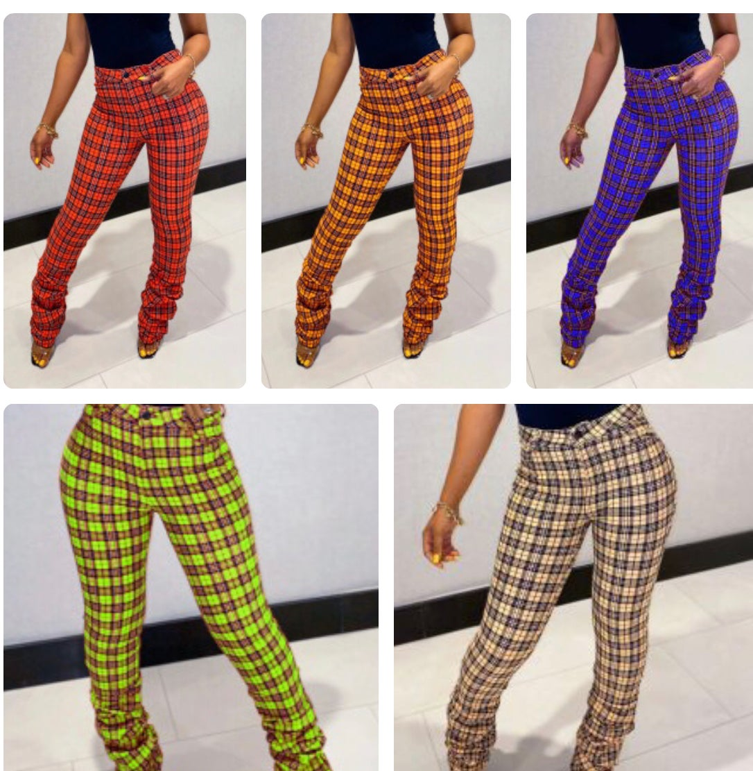Image of Plaid Stacked Pants
