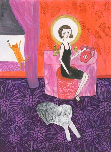 Image of Gloria dropped everything for a ringing telephone. Original painting.