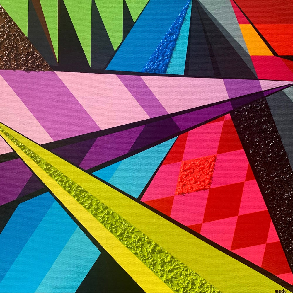 """Image of """"Geo #65"""" - Hand Embellished Canvas Print"""