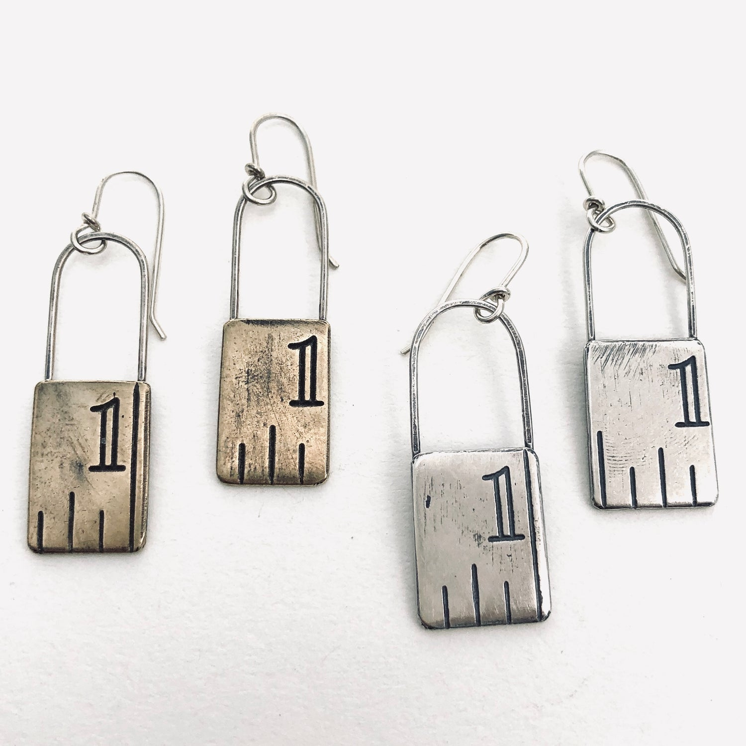 Image of Ruler swing earrings, small    Silver or brass
