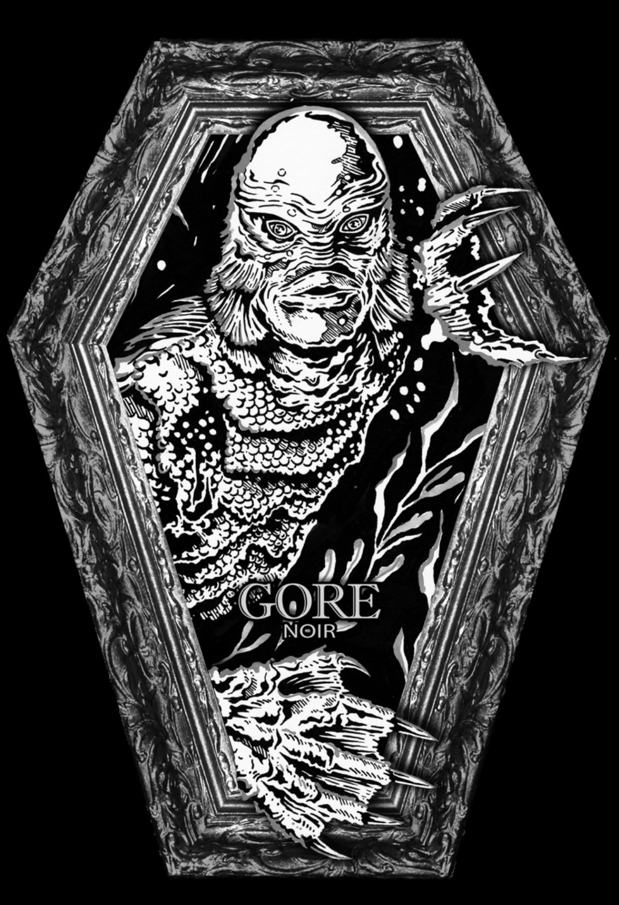 Image of Creature Coffin shaped Black and White issue