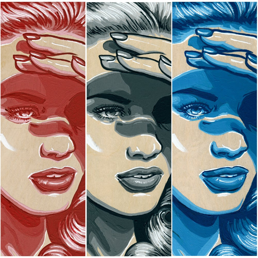 Image of She Shady - Red, Gray, & Blue - Original Artwork