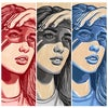 She Shady II - Red, Gray, & Blue - Original Artwork