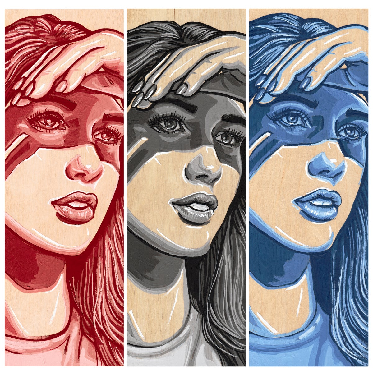 Image of She Shady II - Red, Gray, & Blue - Original Artwork