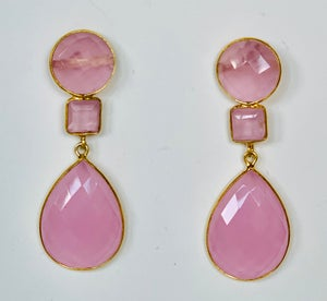 Image of Pink Quartz 3 stone drop