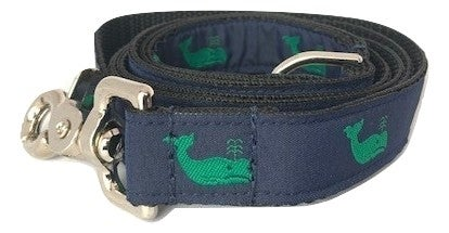 Green Whale on Navy - Dog Leash