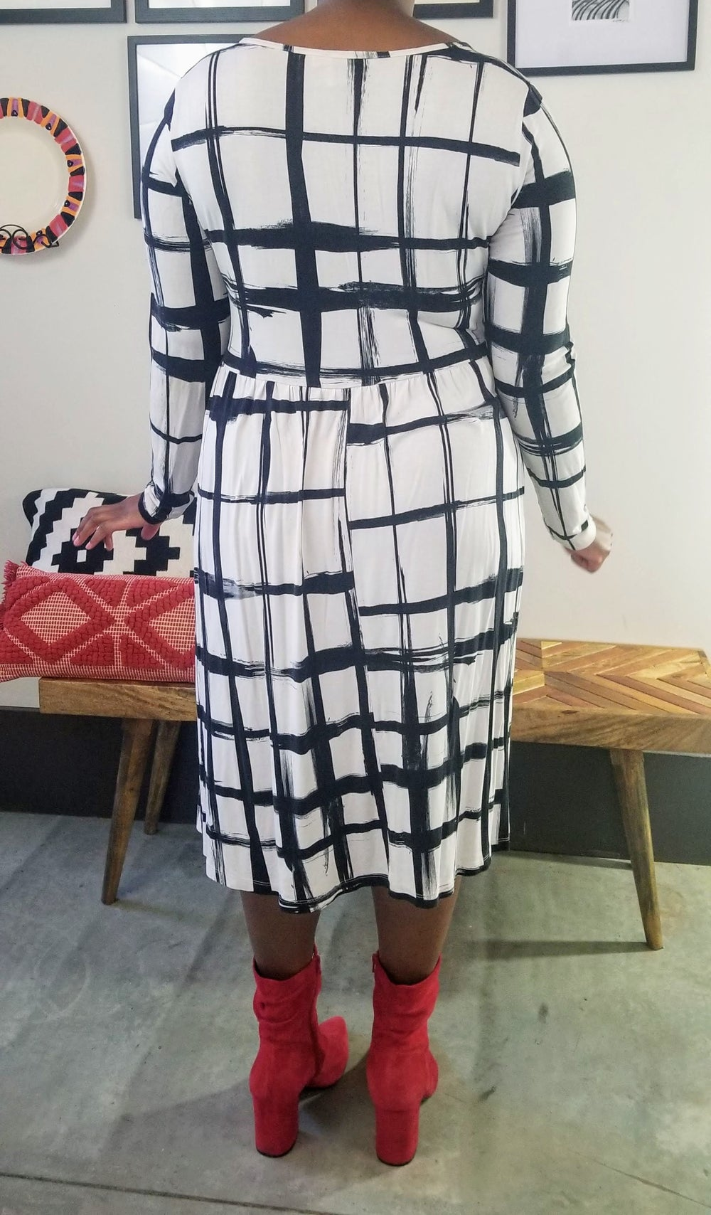 Image of ASOS Curve Long Sleeve Black and White Brushstroke Check Dress - Women's Plus Size 18