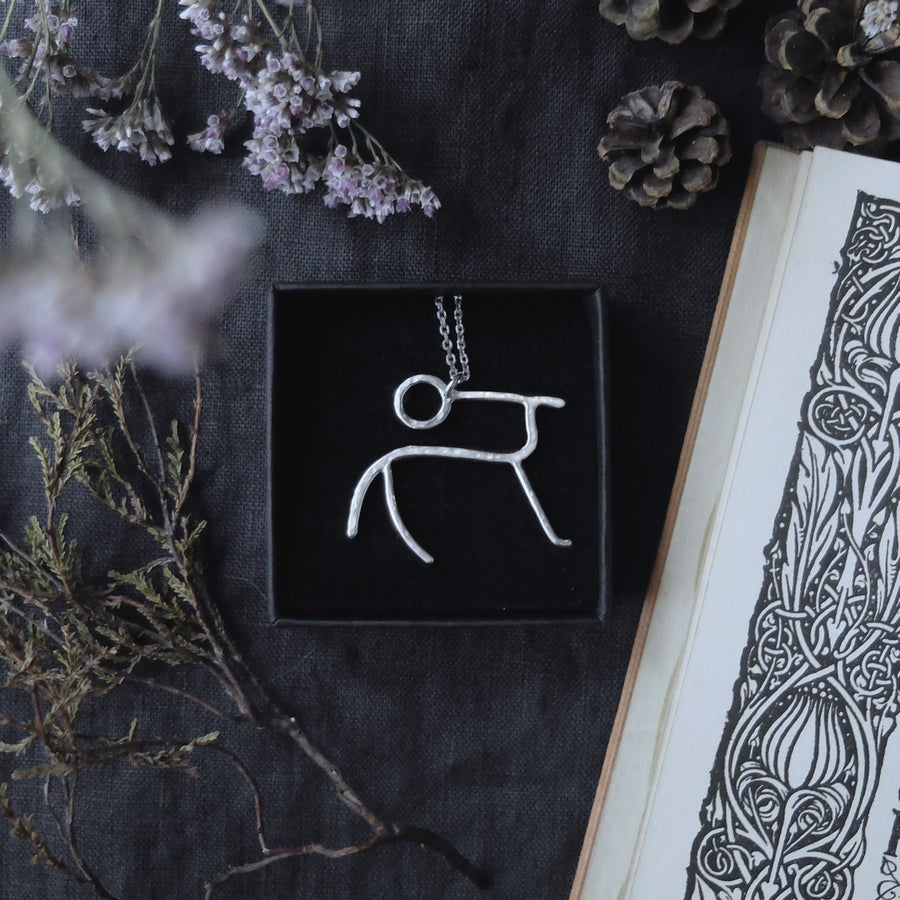 Image of SKINFAXI. PETROGLYPH TALISMAN ↟ sustainable, recycled sterling silver - sun horse - unique