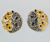 Image of Gold & silver filigree with carnelian accents