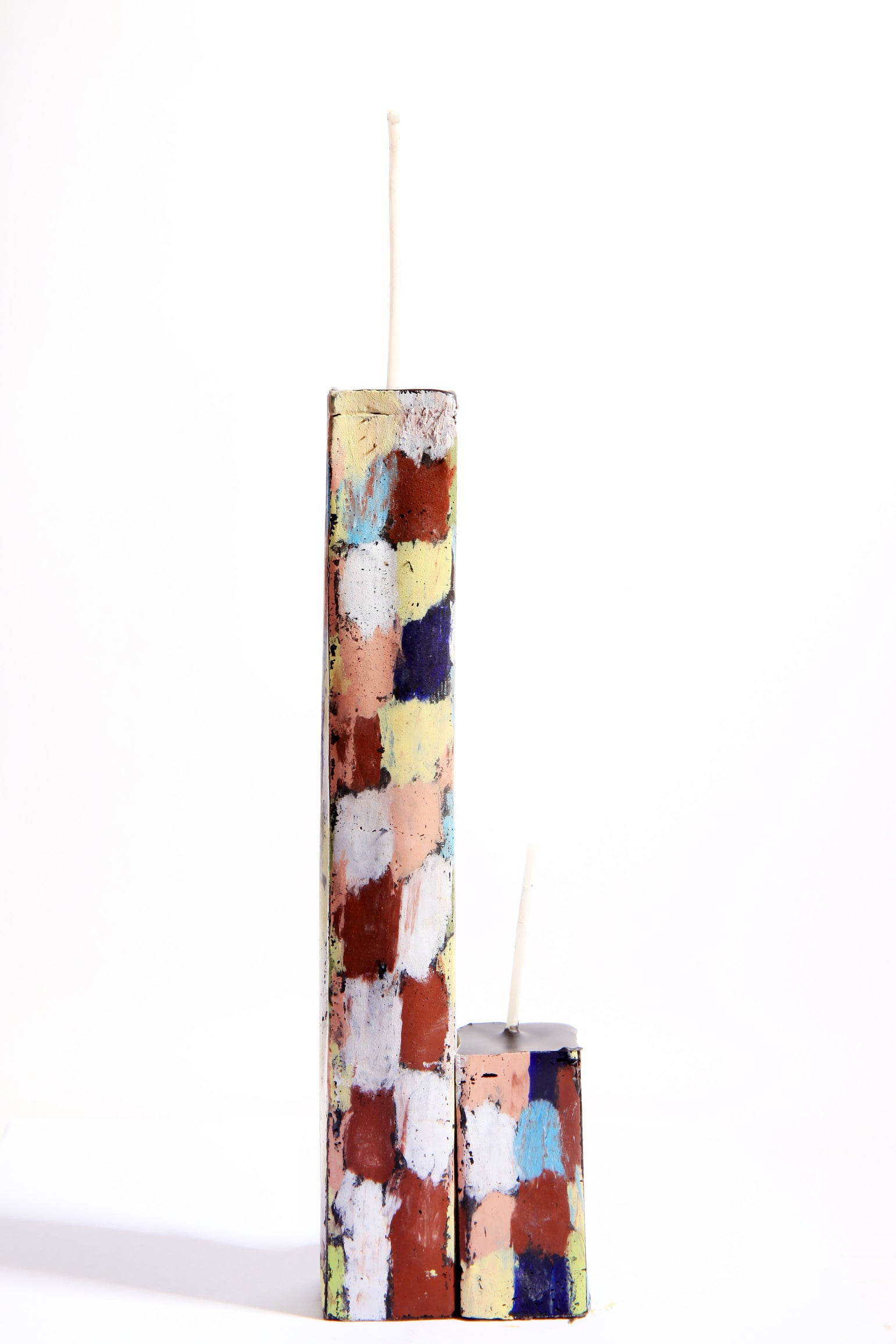 Image of Tall Stack Tower Mother & Child in soft yellow, olive, navy, baby blue, pink, brown madder & white