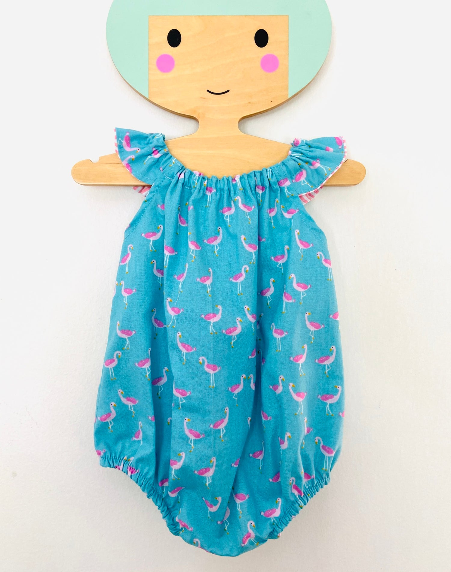 Image of Romper in Aqua Flamingo