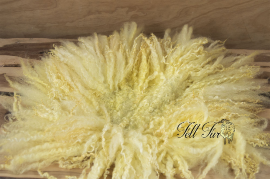 Image of Yellow Curly Fringe  (E57), Newborn Photography Wool Prop. Size E. Ready to Ship.