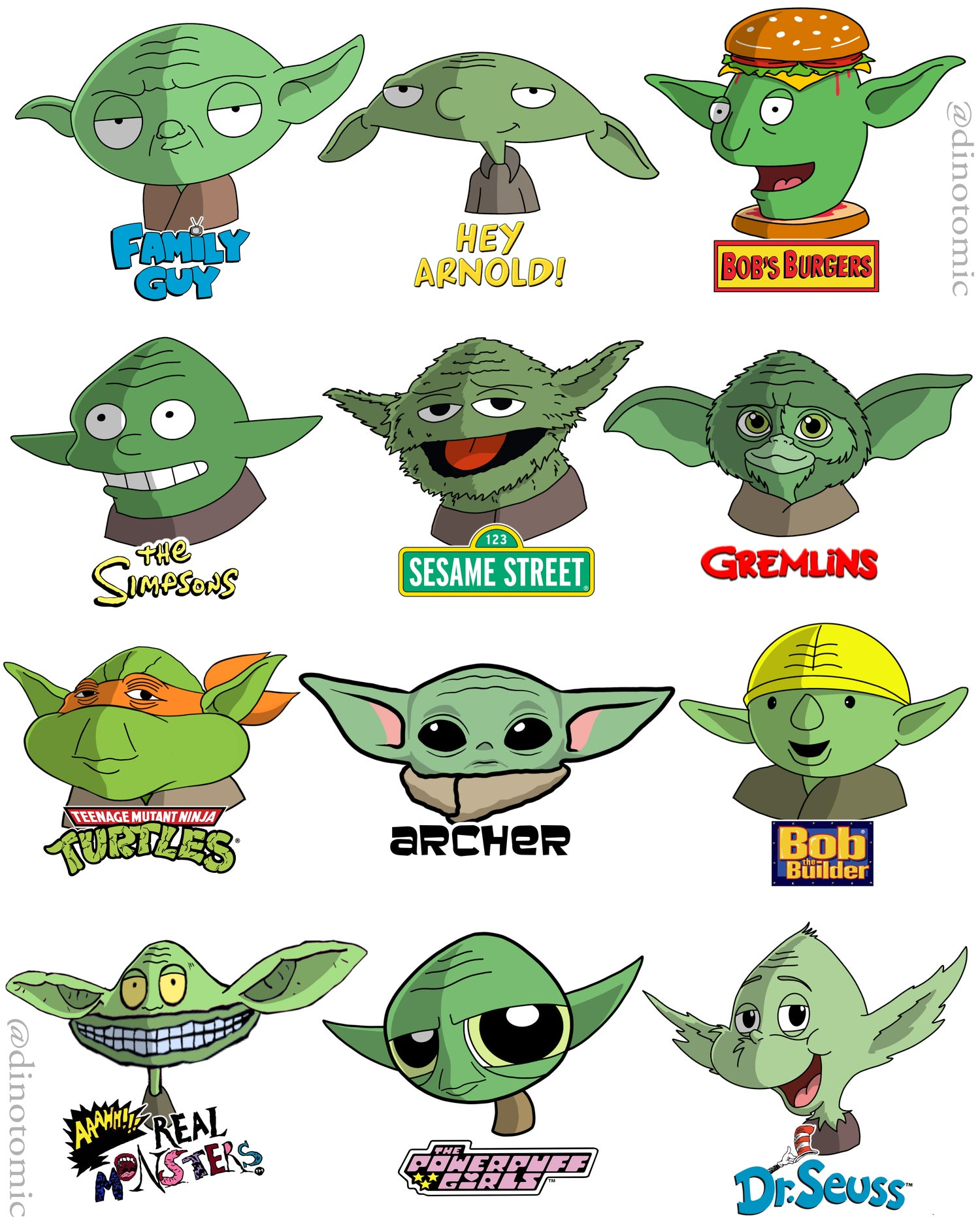 Image of #204 Yoda drawn in 12 styles
