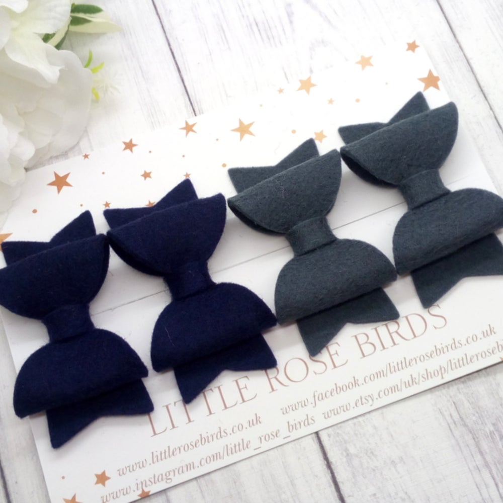 Image of Navy & Grey School Pigtail Set