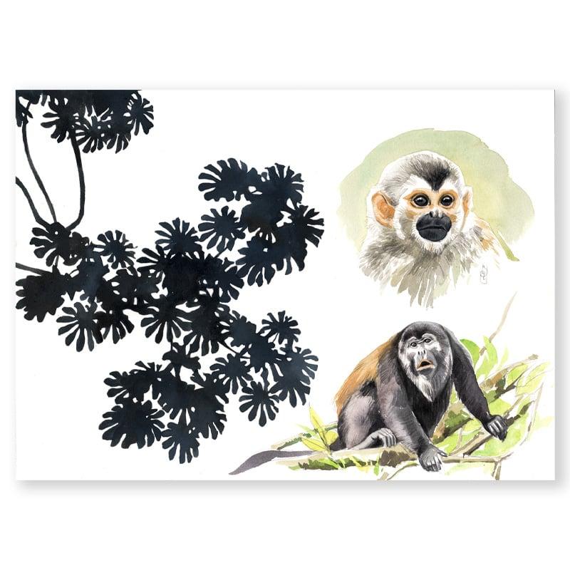 """Image of Original Painting - """"Cecropia, singe écureuil et singe hurleur"""" - 26x36 cm"""