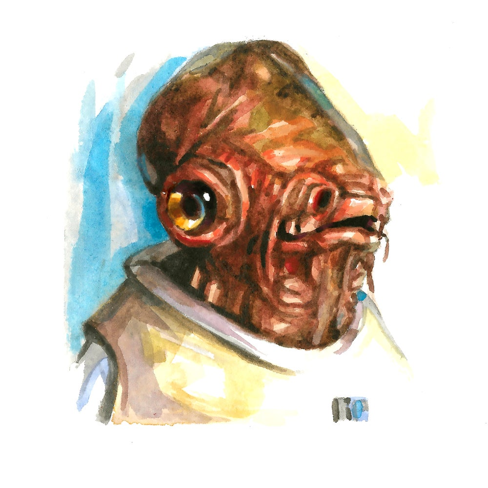 Image of Admiral Ackbar - Watercolor Print