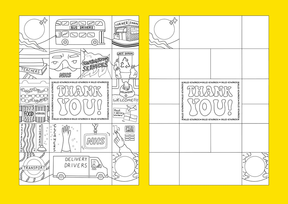 Image of 'THANK YOU!' COLOURING IN & ACTIVITY SHEET