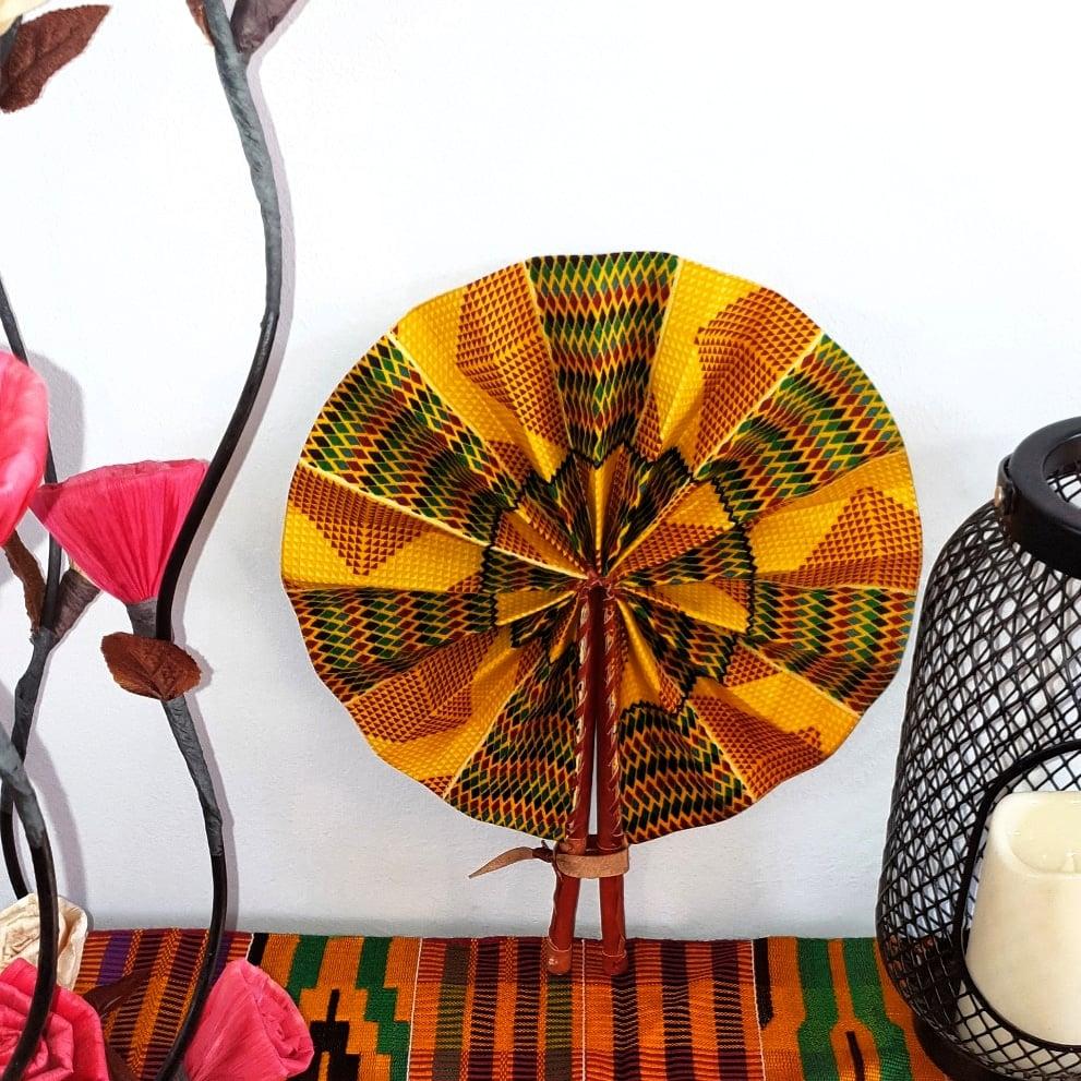 Image of FATHIA AFRICAN PRINT HANDHELD FAN