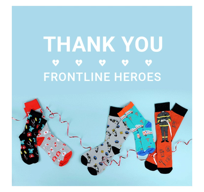 Image of Say Thank You To A Frontline Hero Pattern Novelty Socks (Women's or Men's)Pay it Forward
