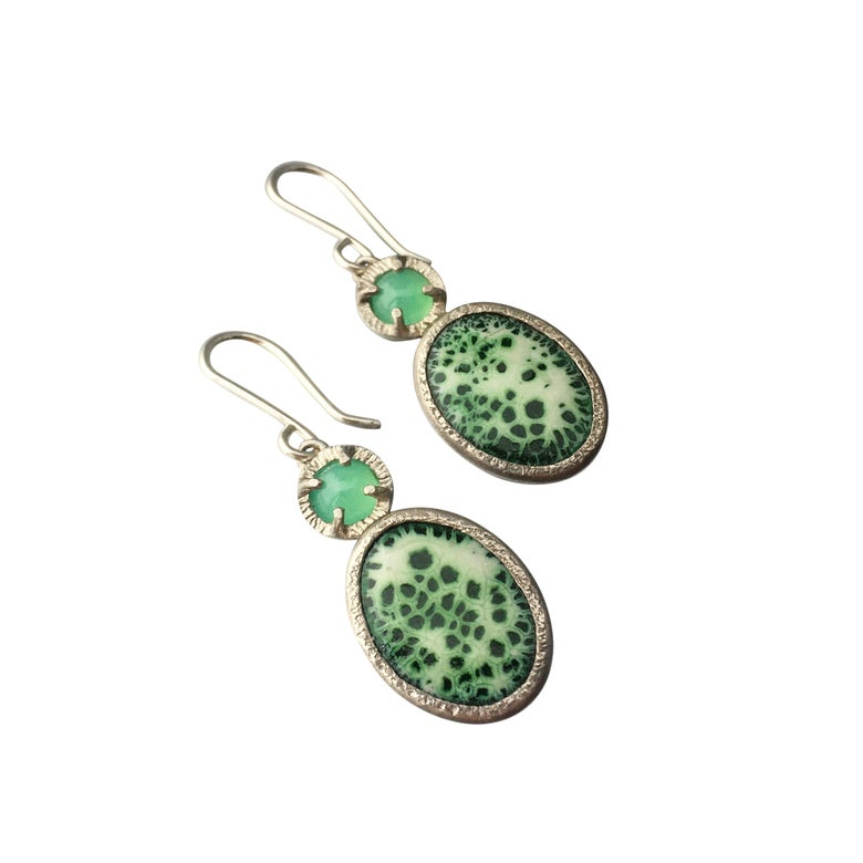 Image of lost in moss earrings in chrysoprase and enamel
