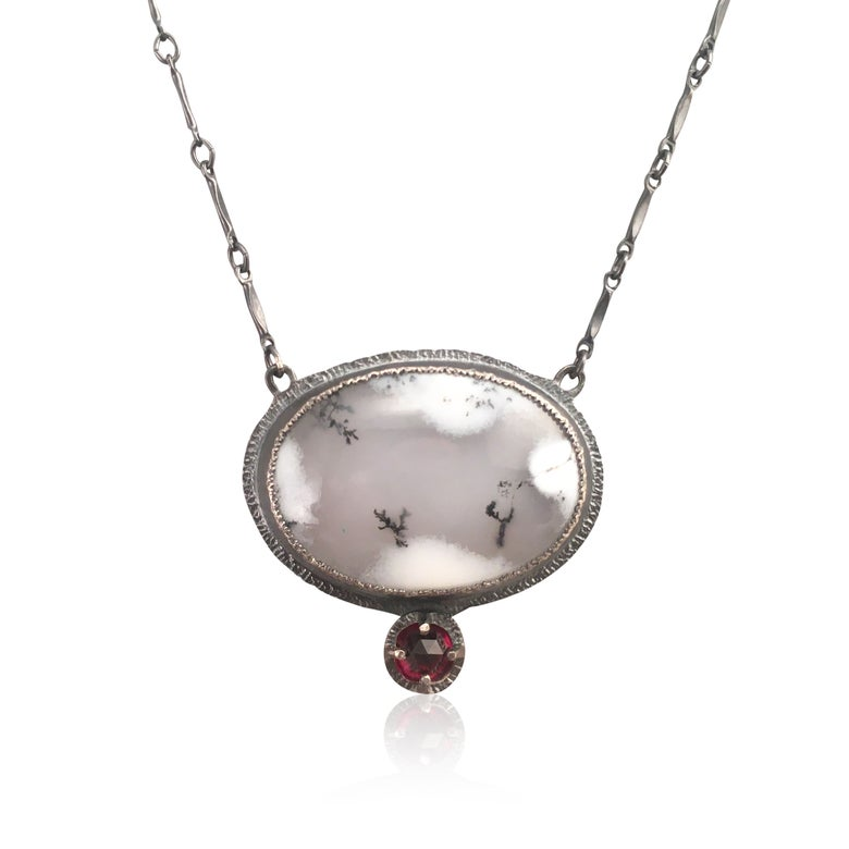 Image of dendritic opal and rose cut garnet necklace