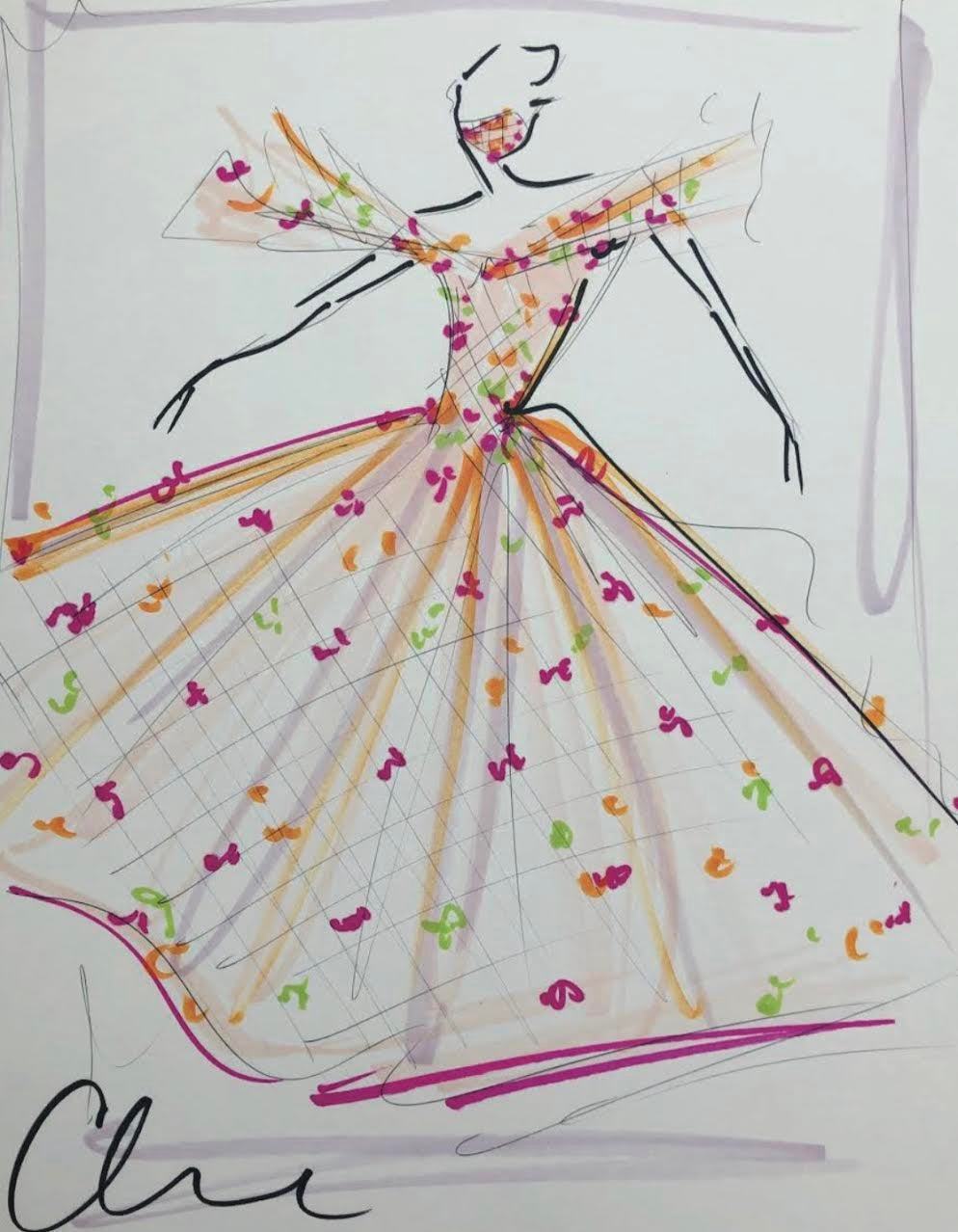 """Image of """"Mask Series Look 3"""" - Sketch Print"""