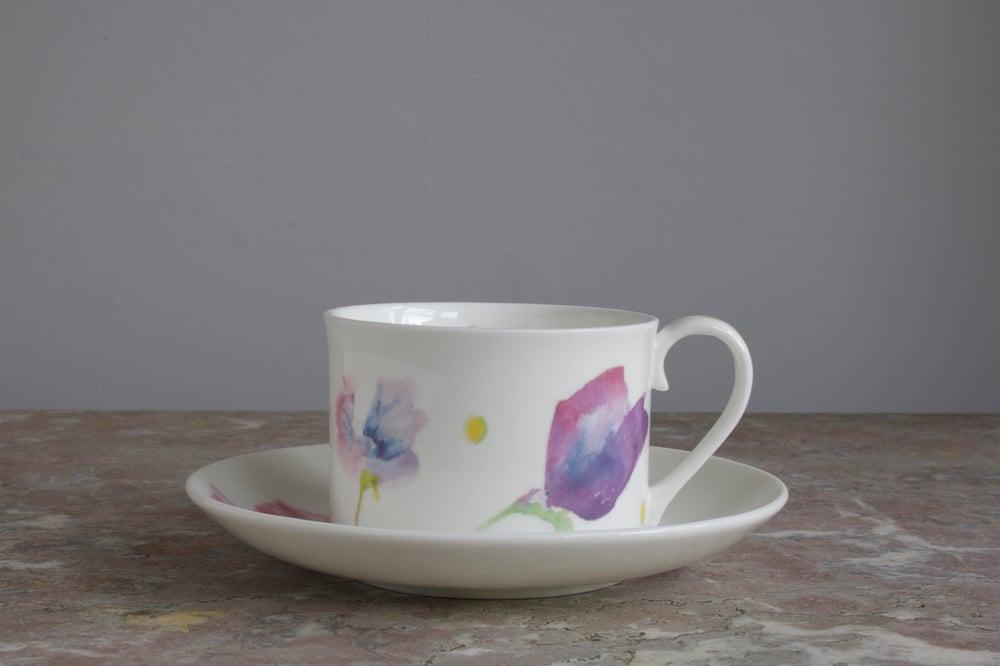Image of Sweet Pea English Fine Bone China Tea Cup & Saucer