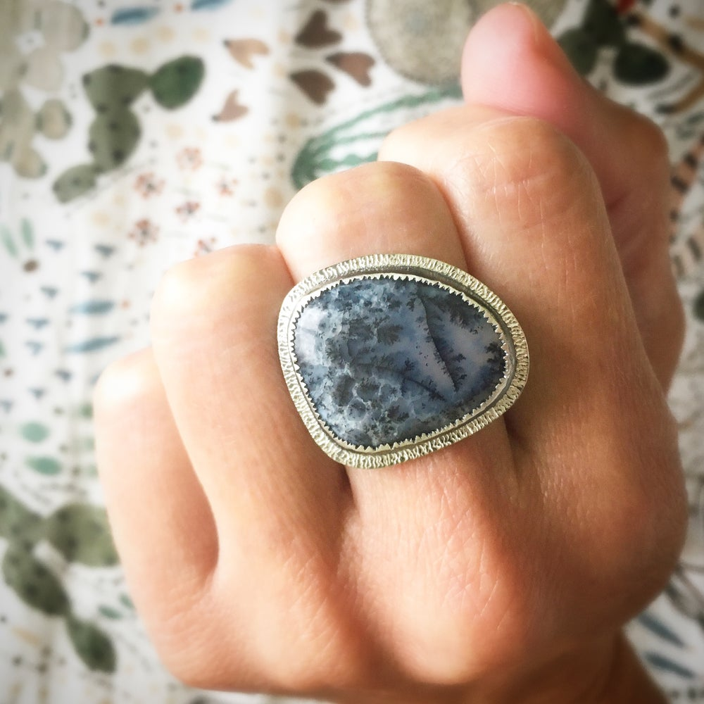 Image of frozen in time, dendritic opal ring