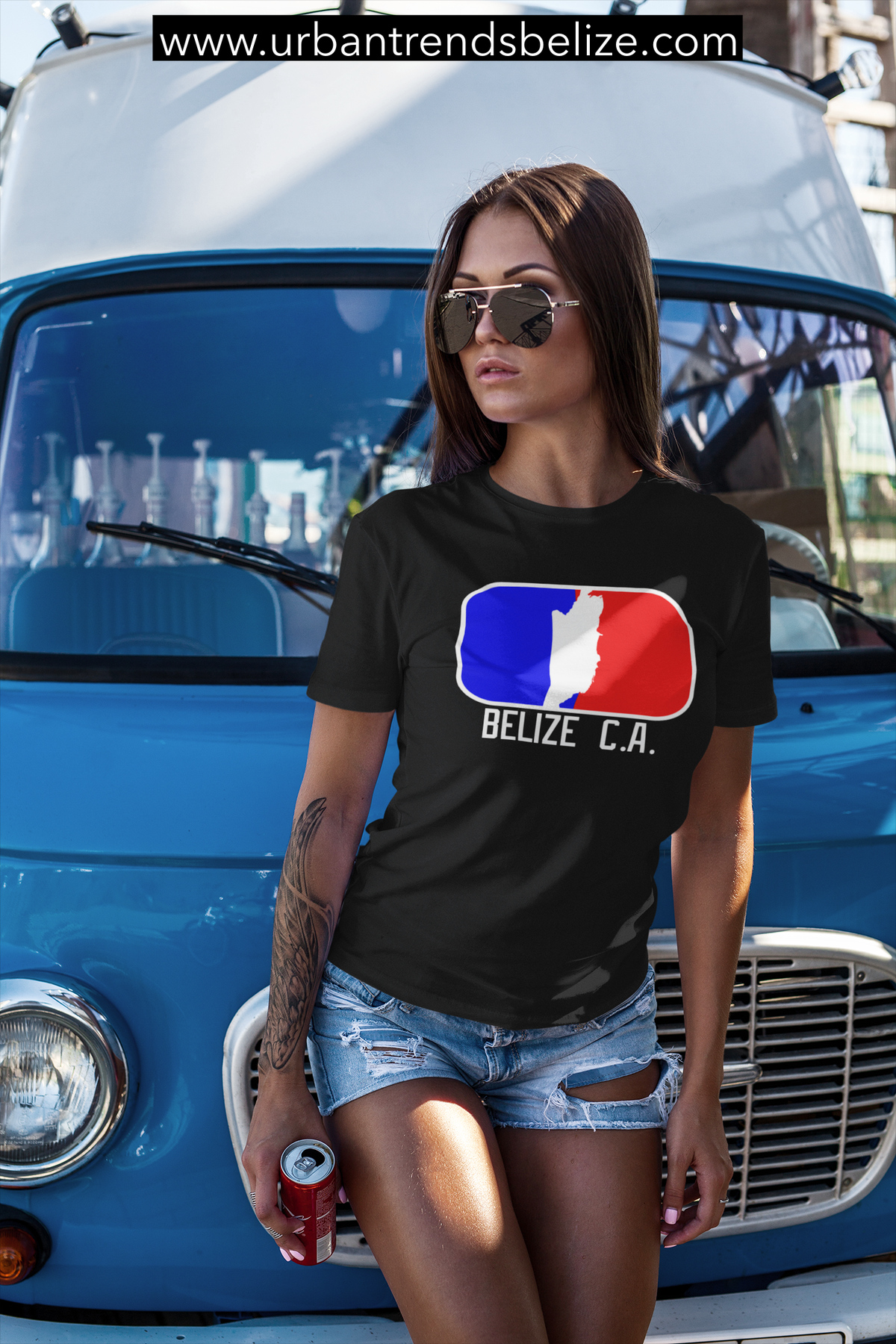 Image of BELIZE - T-SHIRT BLACK/WHITE W/RED/BLUE