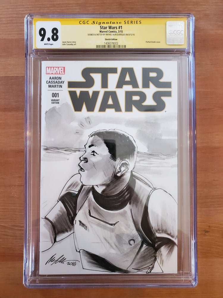 Image of Star Wars #1 : Finn - CGC Signature Series 9.8 Singed & Sketch By Rafael Albuquerque