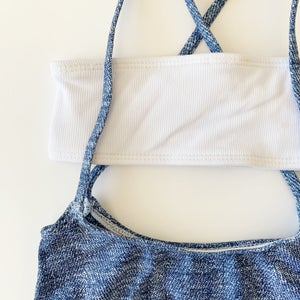 Image of Malibu Swimsuit Denim and White