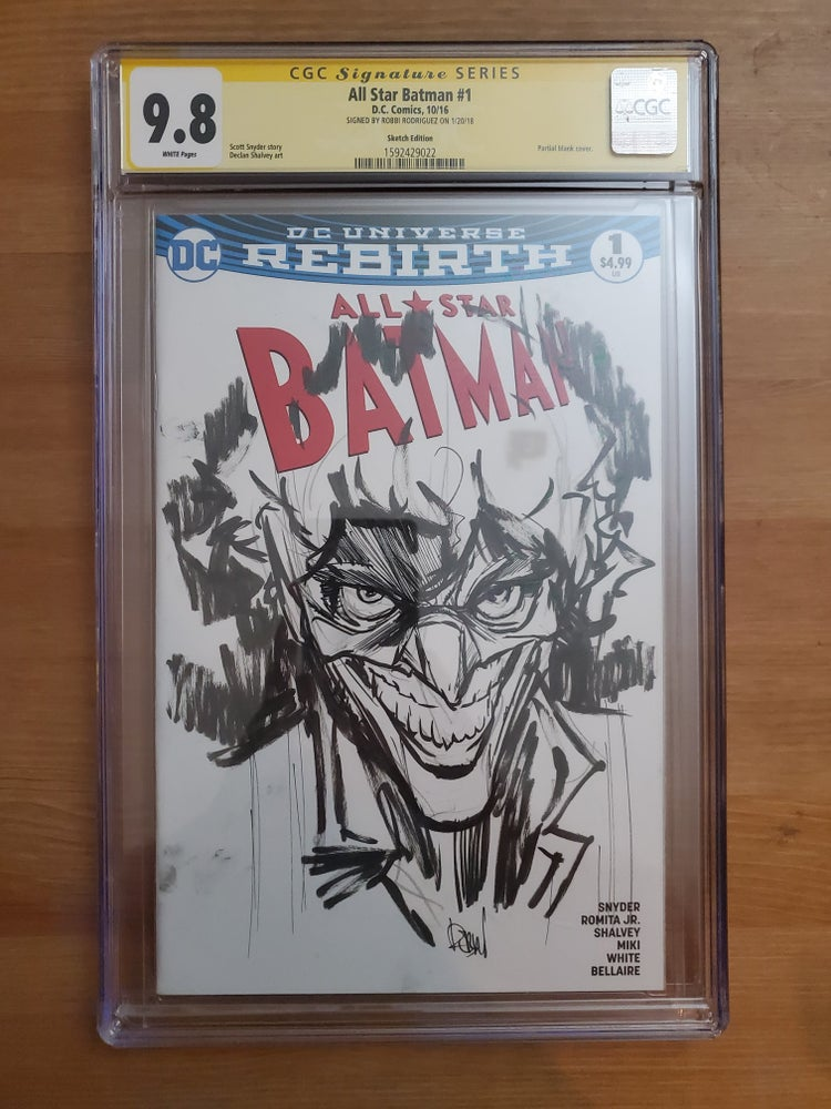 Image of All Star Batman #1 : Joker - CGC Signature Series 9.8 Signed & Sketch By Robbi Rodriguez