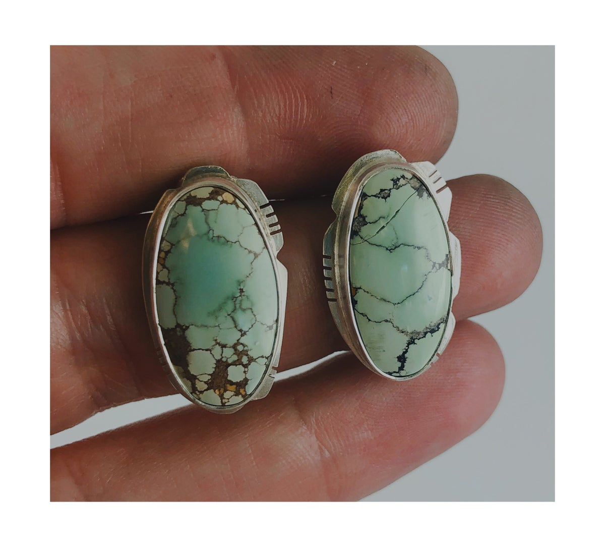 Image of Imperfect - Large Sand Hill Turquoise + Sterling Posts