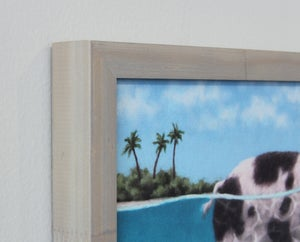 "Image of ""Swimming Pig III"" Framed Canvas Print"
