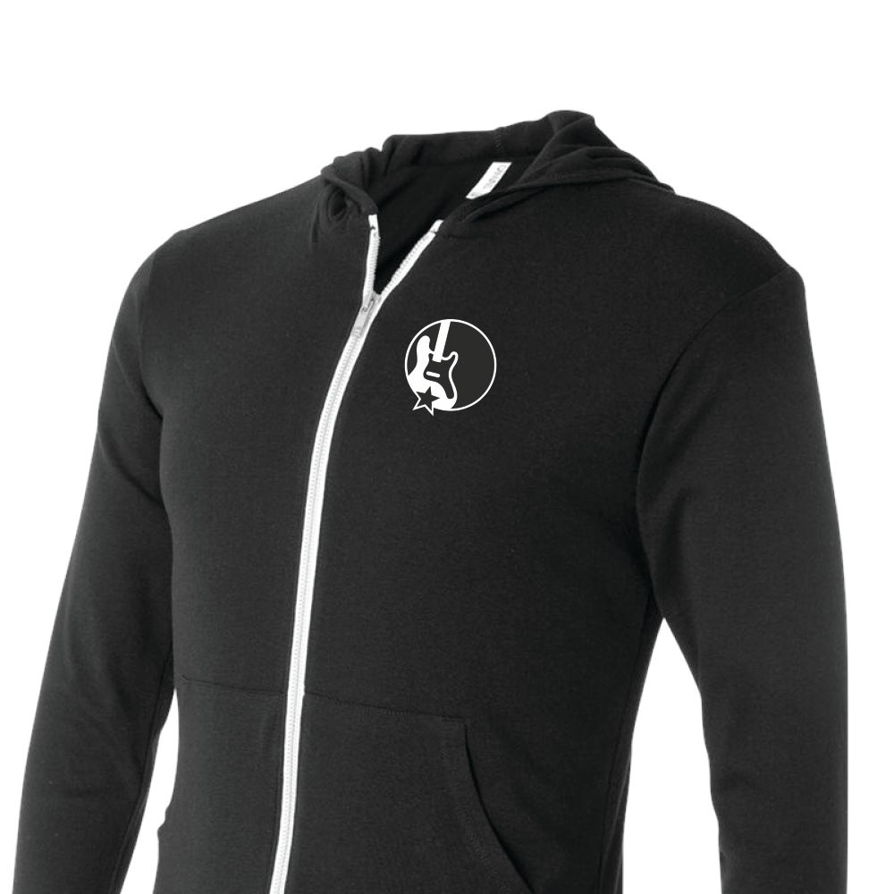 Band Together Zip-Up Hoodie Charcoal Black Long Sleeve