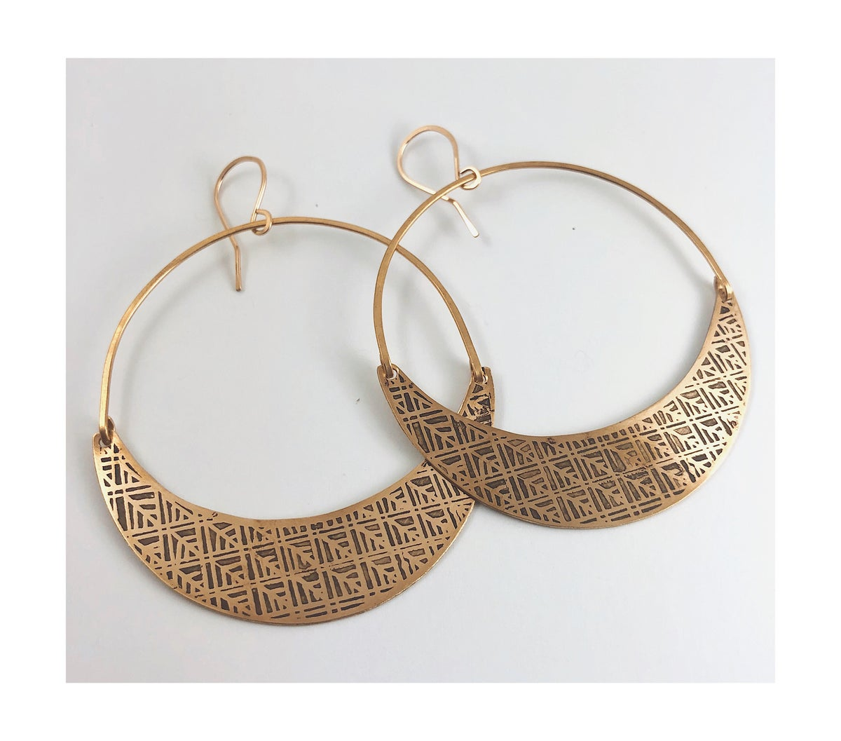 Image of Brass Tile Hoops