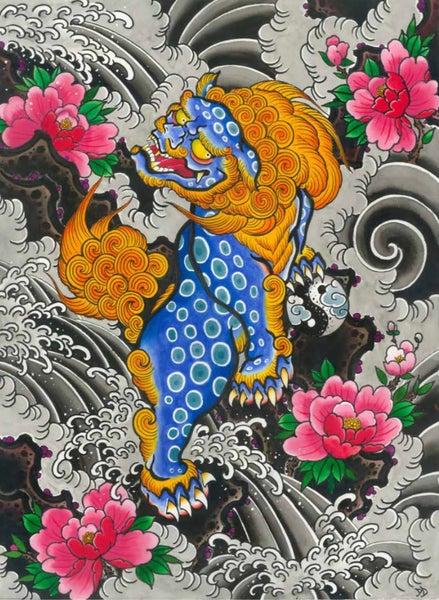 Image of A2 blue foo dog print