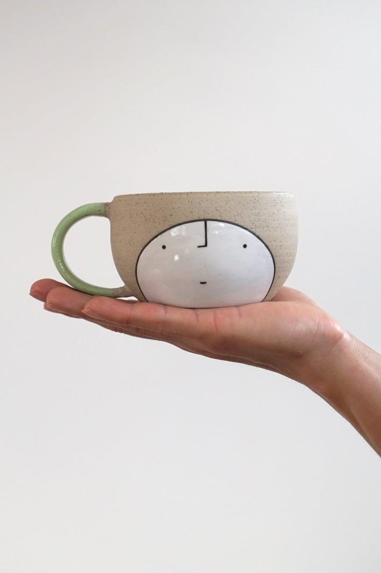 Image of Mug Mug – green guy #1 speckled stoneware