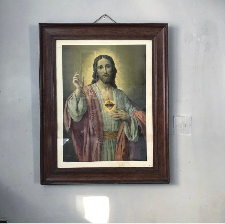 Vintage framed Sacred Heart picture